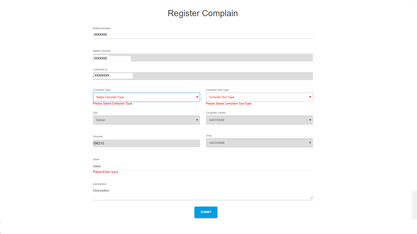 Click on Register Complain Option